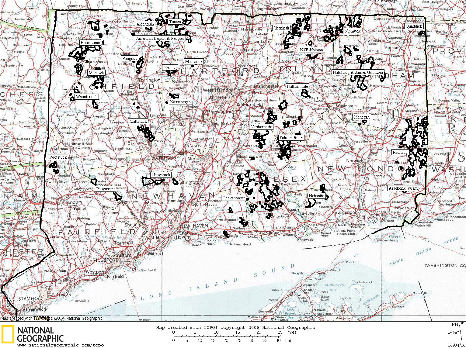 Connecticut State Forests - Connecticut state map