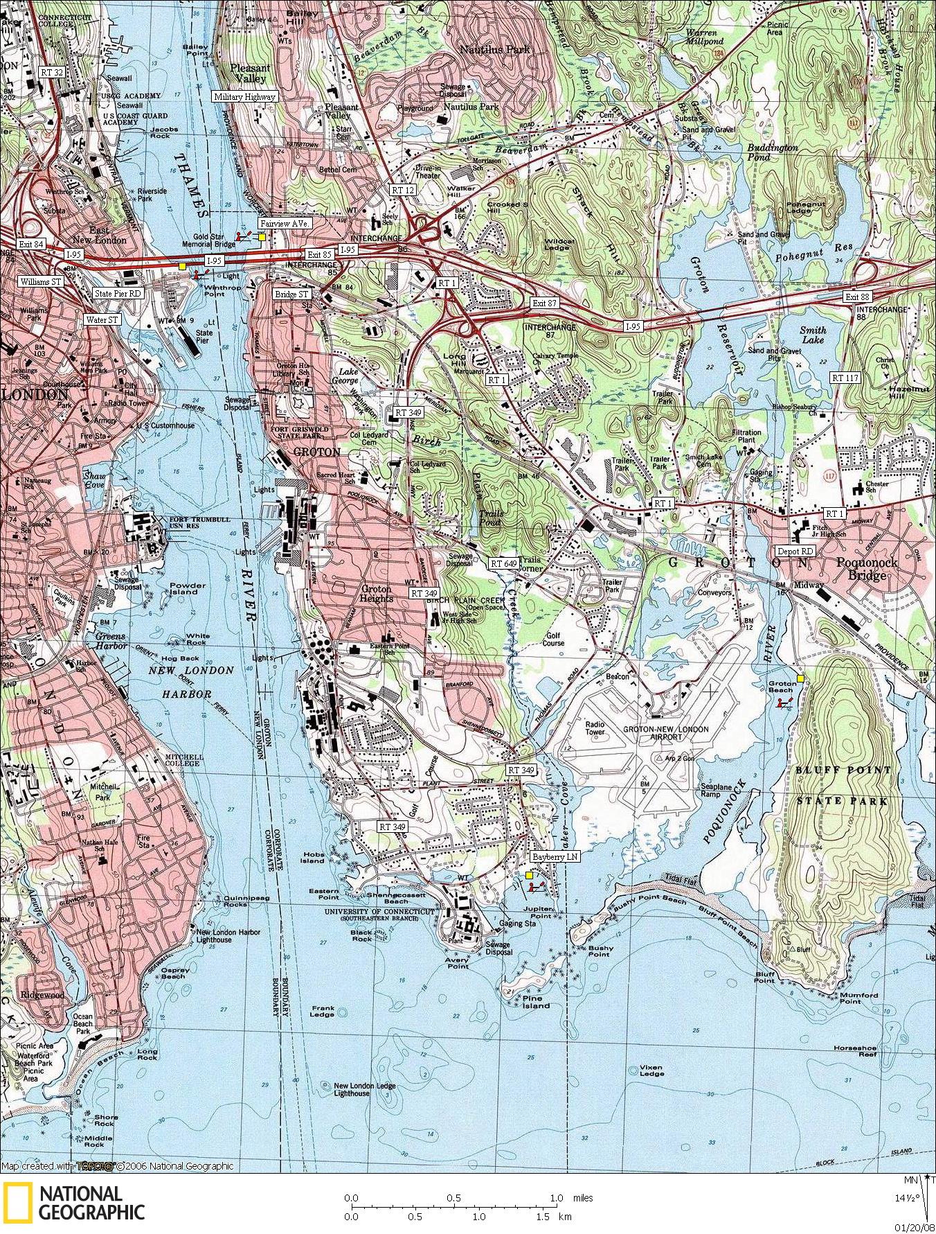 Canoe & kayaking Map of Groton