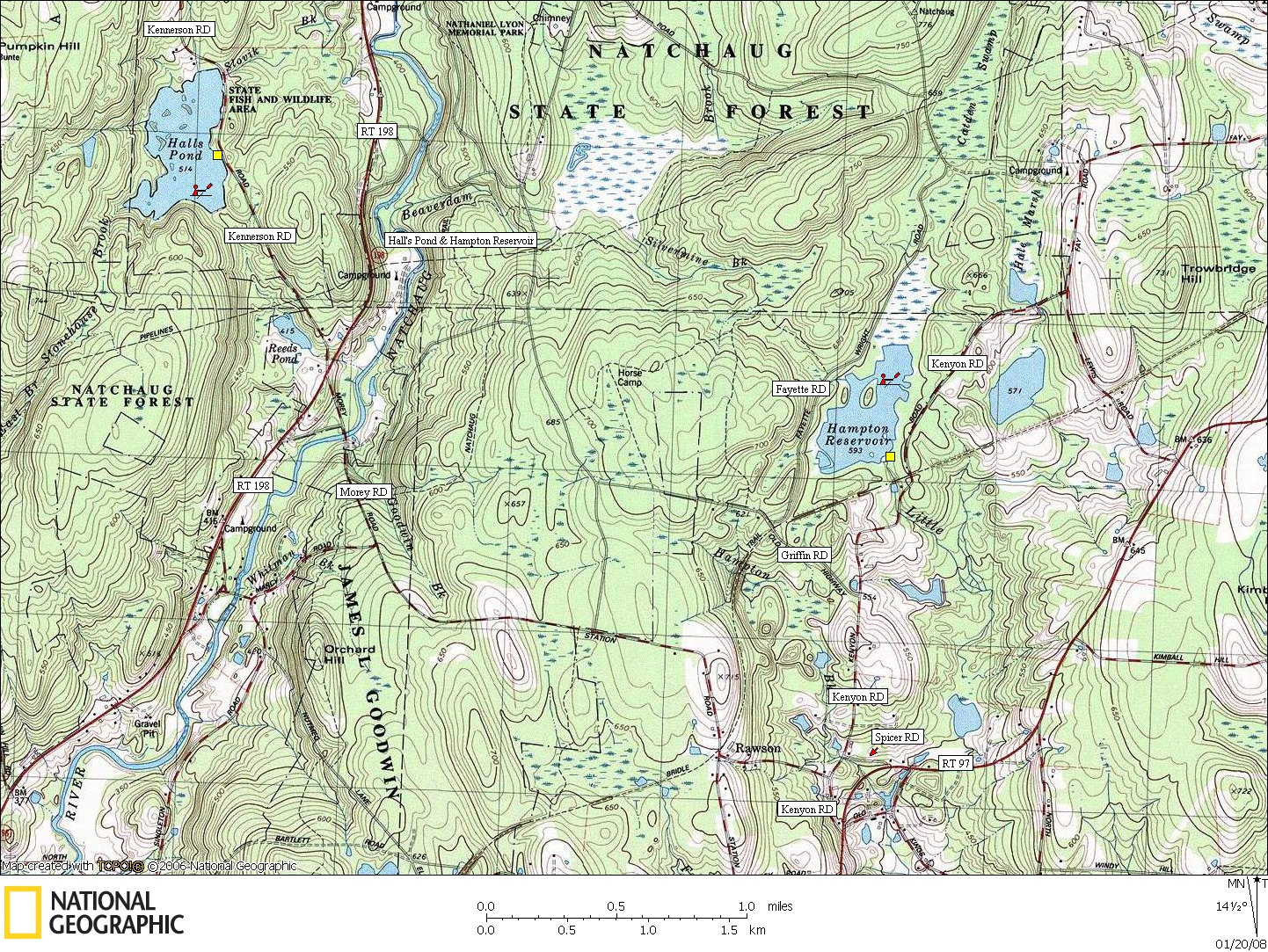 Connecticut, Map, Lakes, Ponds, Canoe, Canoeing, Kayak, Kayaking, Paddling, Lake, Pond, Flat water, Hall's, Hampton Reservoir