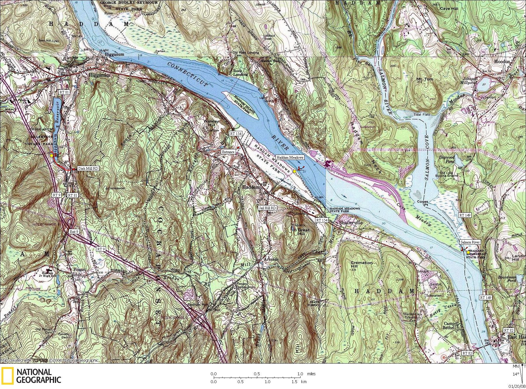 Connecticut, Map, Lakes, Ponds, Canoe, Canoeing, Kayak, Kayaking, Paddling, Lake, Pond, Flat water, Higganum, Haddam, Salmon