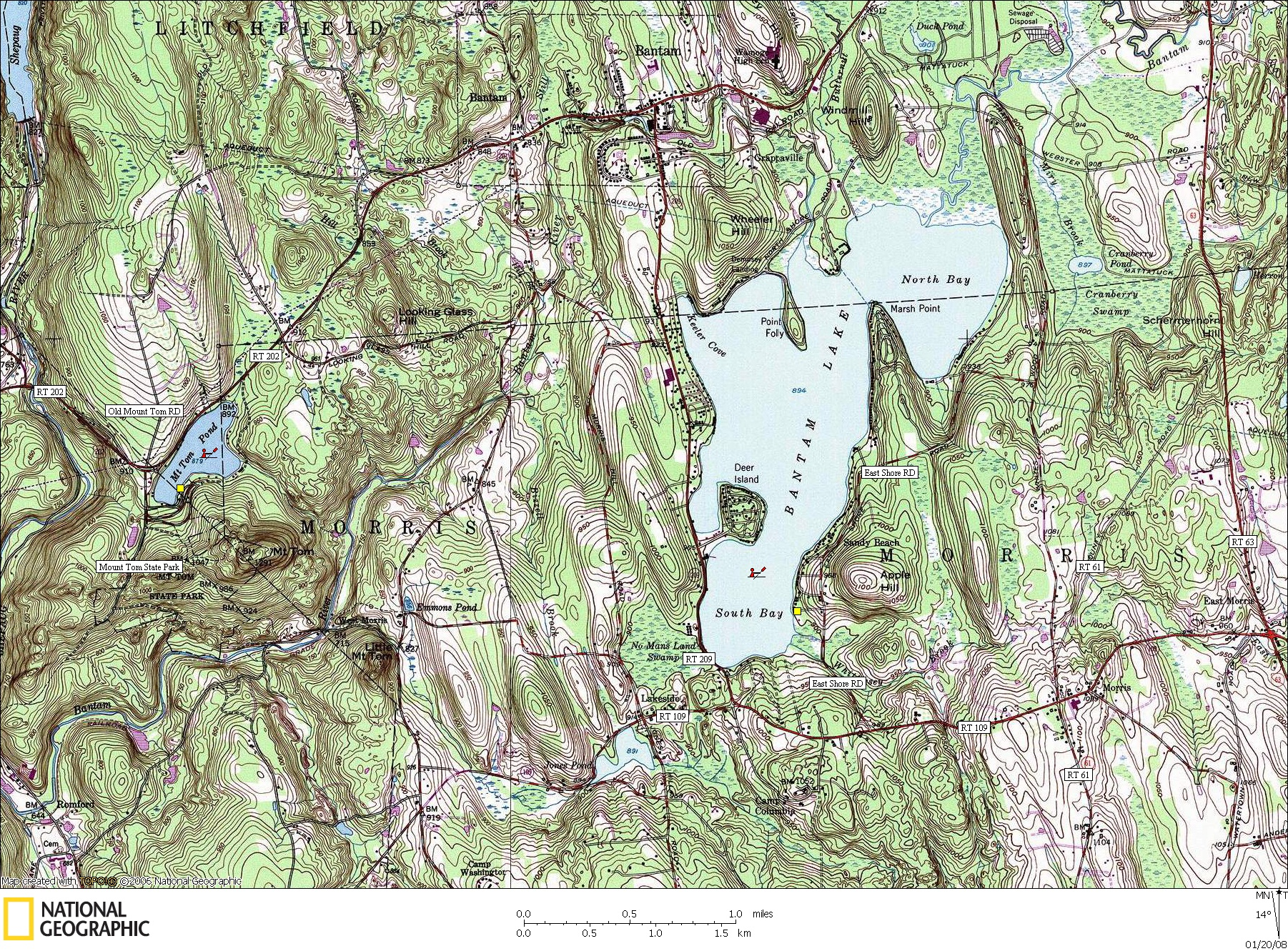 Connecticut, Map, Lakes, Ponds, Canoe, Canoeing, Kayak, Kayaking, Paddling, Lake, Pond, Flat water, Mount Tom, Bantam