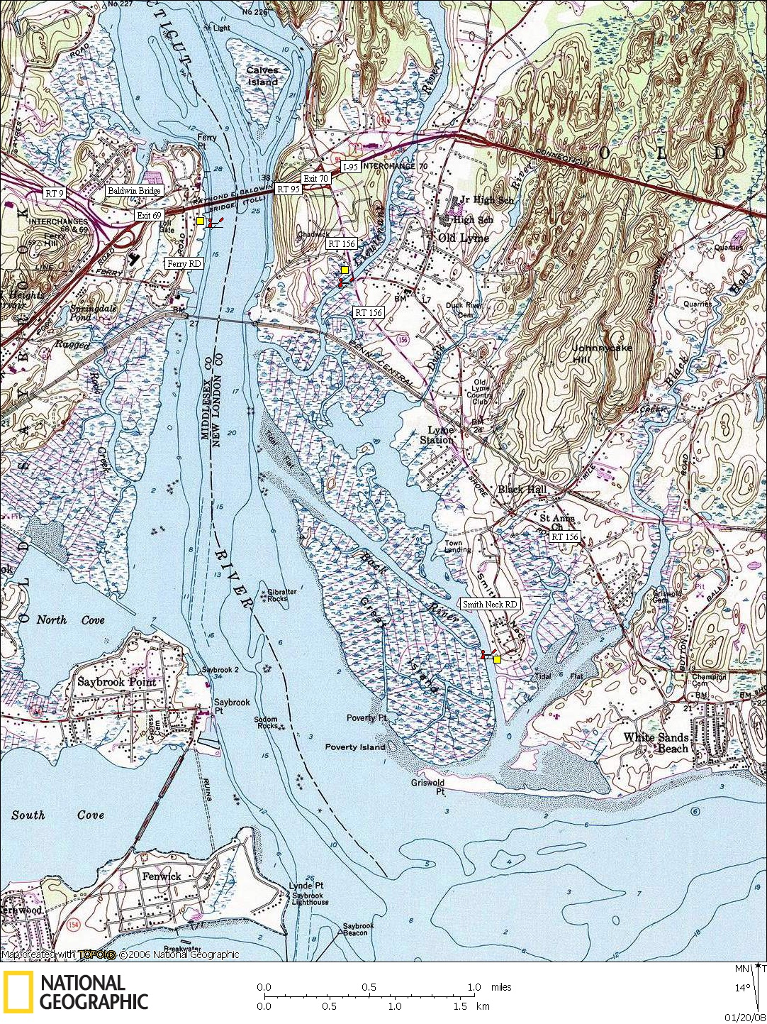 Connecticut, Map, Lakes, Ponds, Canoe, Canoeing, Kayak, Kayaking, Paddling, Lake, Pond, Flat water, Baldwin Bridge, Lieutenant River, 
