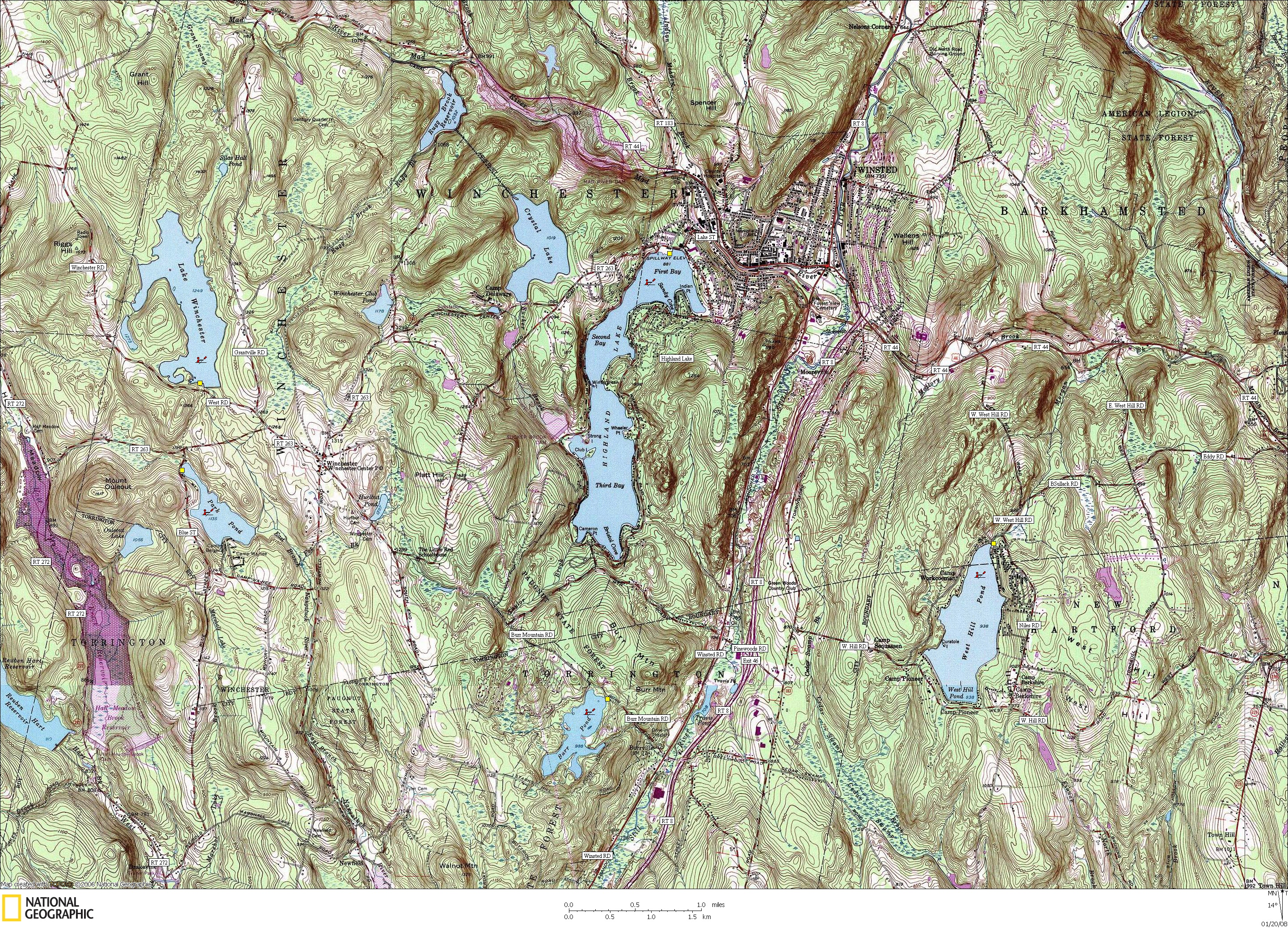 Connecticut, Map, Lakes, Ponds, Canoe, Canoeing, Kayak, Kayaking, Paddling, Lake, Pond, Flat water, Winchester, Winsted, Burr, West 