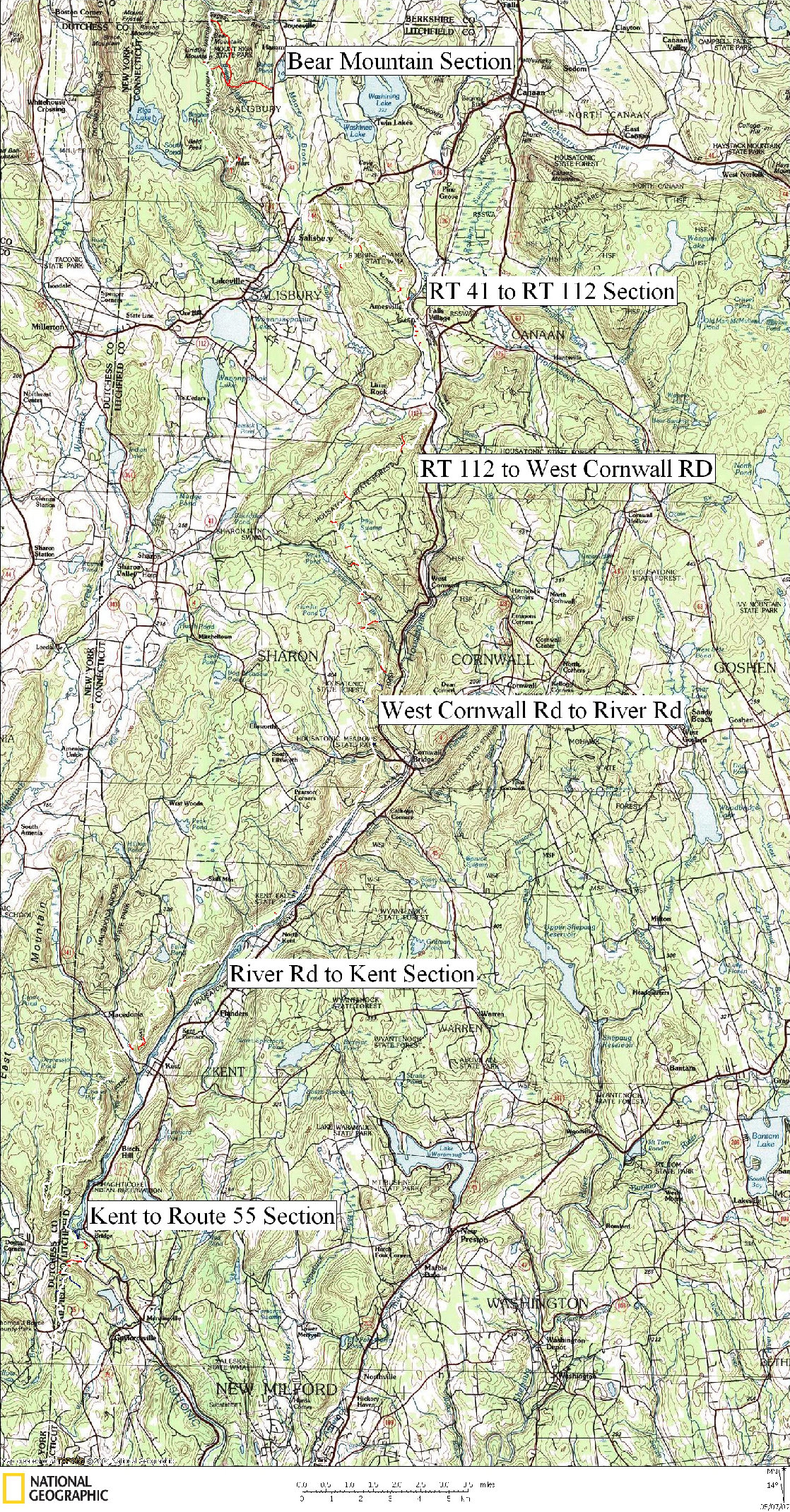 Connecticut Appalachian Trail Hiking Map on